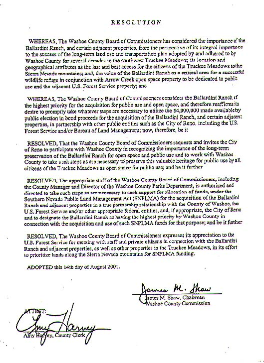 Washoe County Commission Resolution of Support